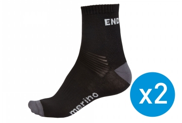 ENDURA 2-Pack Socks Black MERINO