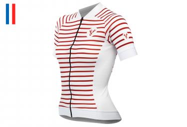 Maillot Manches Courtes Femme Lebram Ventoux 2 Blanc/Rouge Coupe Ajustée
