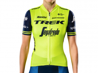 Short Sleeves Jersey Women Trek by Santini Team Trek-Segafredo Replica Yellow