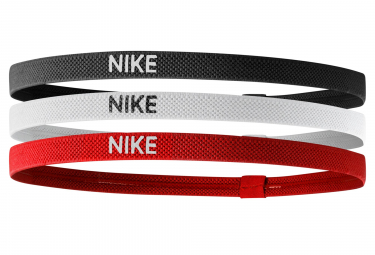 Nike Elastic Mini Headbands (3 Pieces) Red Black White