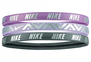 Nike Metallic Mini Headbands (3 Pieces) Purple Grey