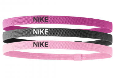Nike Elastic Mini Headbands (3 Pieces) Pink Grey