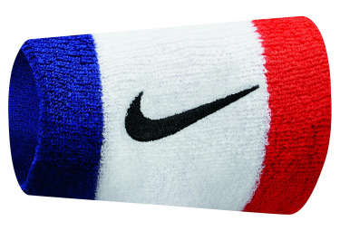 Nike Swoosh Double Wide Wristbands Blue White Red
