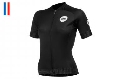LeBram Allos Women Short Sleeves Jersey Black Adjusted Fit (2 pockets+Zip)