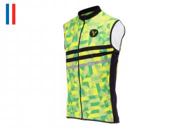 LeBram Croix de Fer Sleeveless Windbreaker Jacket Neon Yellow Neon Green