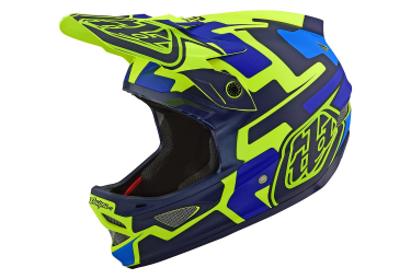 Troy Lee Designs D3 Fiberlite Speedcore Full Face Helmet Neon Yellow Blue Matte