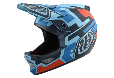Troy Lee Designs D3 Fiberlite Speedcore Full Face Helmet Blue Clay Brown Matte