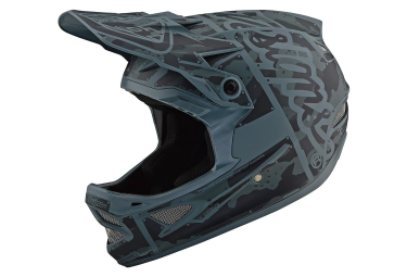 Troy Lee Designs D3 Fiberlite Factory Full Face Helmet Camo Green Matte