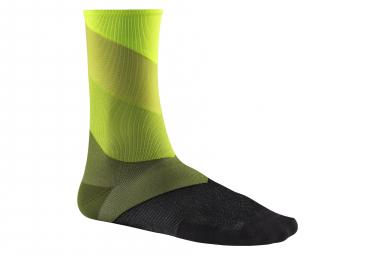 Chaussettes Hautes Mavic Graphic Stripes Safety / Jaune