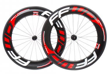 Paire de roues fast forward f9r fcc carbon dt350 9x100 9x130 mm corps shimano sram noir rouge