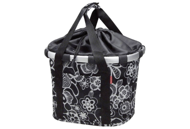 Sacoche de guidon klickfix bikebasket fleur noir