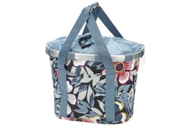 Sacoche de guidon klickfix bikebasket flower bleu