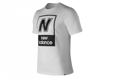 T shirt manches courtes new balance nb logo blanc homme l