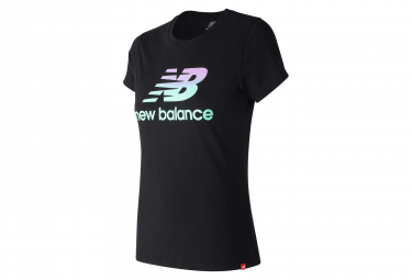 34c8b90b414db New Balance Short Sleeves Tee Shirt NB Essentials Logo Black Women ...