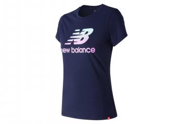 T shirt manches courtes new balance nb essentials logo bleu femme l