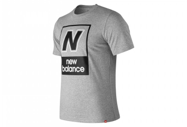 New Balance manga corta camiseta NB Logo Gris Hombres