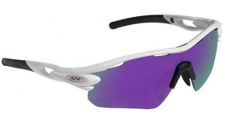 Image of Lunettes azr tour rx monture blanche vernie ecran multicouche violet cat 3