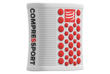 Bandeaux Poignet Compressport Sweatbands 3D.Dots (Paire) Blanc Rouge