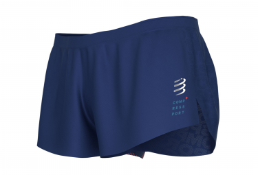 Split Short Compressport Racing Split Overshort Bleu Homme