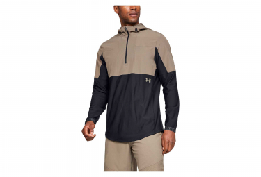 Under Armour Vanish Hybrid Half Zip Water Resistant Jacket Beige Black