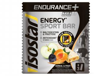 Barres Energétiques Isostar Endurance+ Céréales et Fruits 3x40g