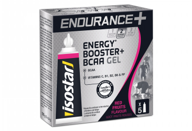 Gels Energétiques Isostar Endurance+ Booster BCAA Fruits Rouges 5x20g