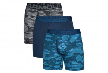 Lot de 3 Boxers Under Armour Charged Cotton 15 cm Boxerjock Camo Bleu Gris