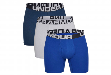 Lot de 3 Boxers Under Armour Charged Cotton 15 cm Boxerjock Bleu Gris