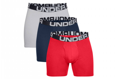 Lot de 3 Boxers Under Armour Charged Cotton 15 cm Boxerjock Rouge Bleu Marine Gris