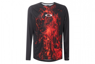 Maillot Manches Longues Oakley MTB Tech Tee Flames Noir / Rouge