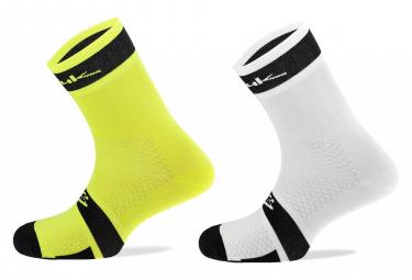 Spiuk XP Summer Socks (2 Pairs Pack) Neon Yellow White