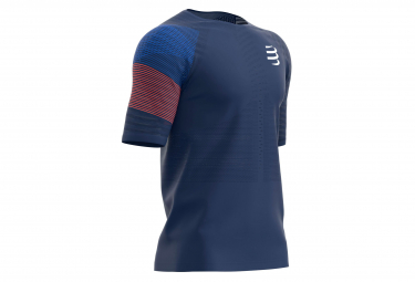 Compressport Maillot Manches Courtes Racing Bleu Rouge Homme