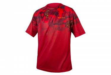 Maillot Manches Courtes Endura SingleTrack Print LTD Rouge