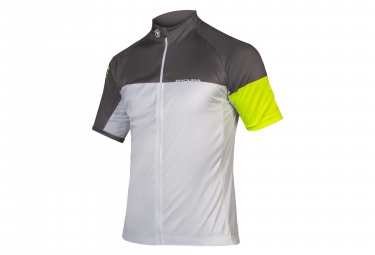 Endura Hyperon II Short Sleeves Jersey White Grey Neon Yellow