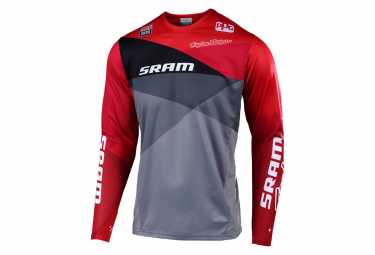 Troy Lee Designs Sprint Jet Sram Long Sleeves Jersey Grey Red