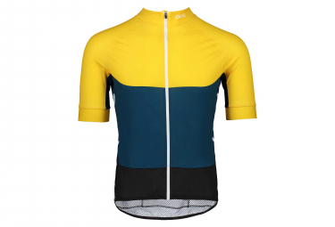 Maillot Manches Courtes Poc Essential Road Light Jaune Sulphite Bleu Draconis