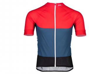 Maillot Manches Courtes Poc Essential Road Light Bleu Lead Rouge Prismane