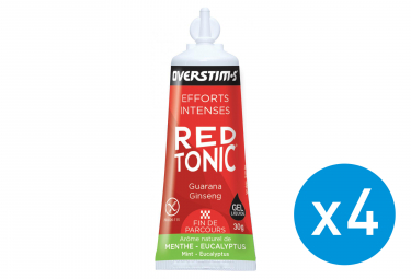 Bundle 3+1 Free OVERSTIMS Energy Gel LIQUID RED TONIC SPRINT AIR Mint - Eucalyptus