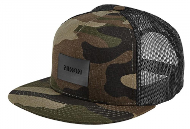 Nixon Team Trucker Hat Woodland Camo Black