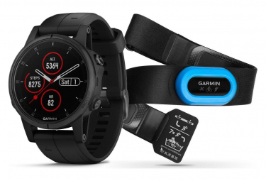 Garmin Fenix 5S Plus Sapphire GPS Watch HRM Tri with Black Band