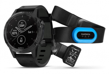 Garmin Fenix 5 Plus Sapphire GPS Watch Titanium HRM Tri Black Band