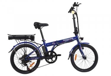 Vélo Electrique Pliant Velobecane Urban 20'' Shimano 7V Bleu