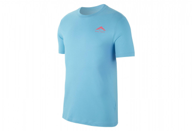 Maillot Manches Courtes Nike Dri-Fit Trail Logo Bleu Rose Homme
