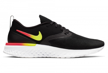 Nike Odyssey React Flyknit 2 Black Yellow Pink Women