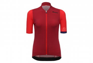Maillot Manches Courtes Femme Santini Genio Rouge