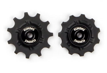 Elvedes Pair of Jockey Wheels 2 x 11 with Spacers Black