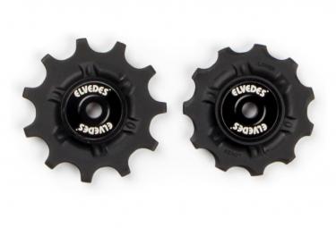 Elvedes Pair of Jockey Wheels 2 x 11 with Spacers Black