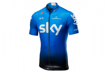 Castelli Sky Fan Team Sky 2019 Short Sleeves Jersey Blue