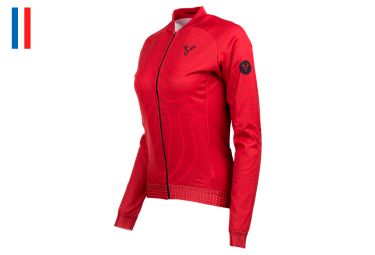 LeBram Megève Women Long Sleeves Jersey Red Adjusted Fit