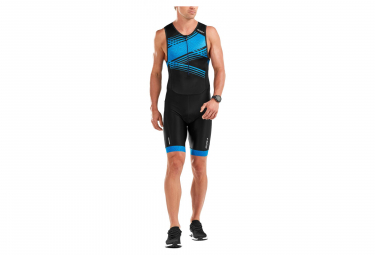 2XU Perform Front Zip Trisuit Black / Blue Print Signal